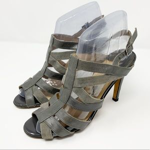 Manolo Blahnik Gray Leather Caged Heeled Sandals